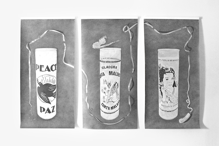 """CANDLES, TRIPTYCH, 2018, FROM 'HOUSE AND UNIVERSE' EXHIBITION GRAPHITE ON PAPER DIMENSIONS: 113.5""""W X 69""""H"""
