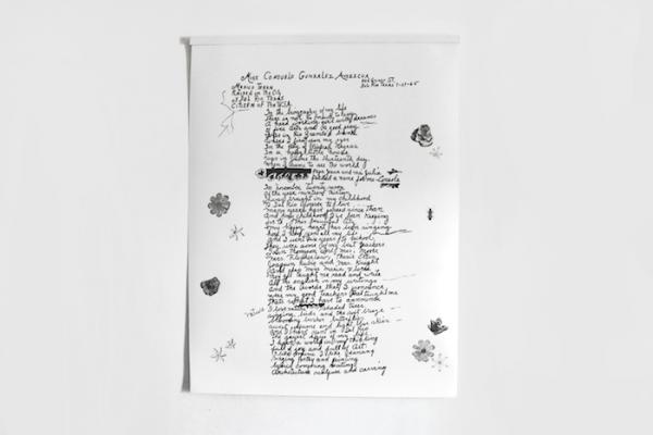 "Consuelo González Amezcua's Handwriting, 2017. Graphite on paper. 55""W X 72""H"