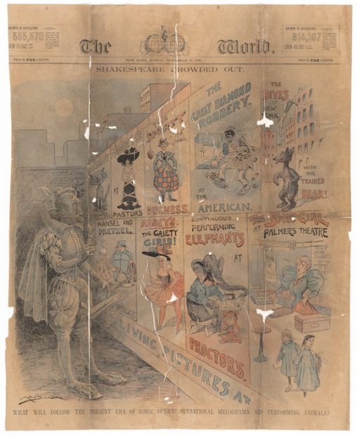 """Shakespeare Crowded Out"" from the New York World, 1895. Tony Pastor Papers, Harry Ransom Center."