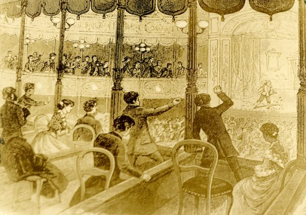 Audience throwing food at performers in Baldwin's Theatre in San Francisco, ca. 1885. Albert Davis / American Theaters Collection, Harry Ransom Center.