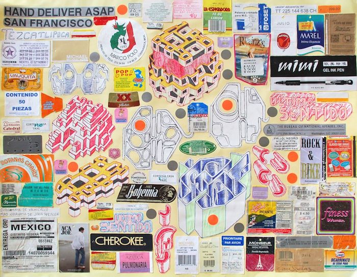 Cisco Jimenez, Hand Deliver ASAP, Collage with drawing, 19.75x25.5inches, 2016_preview