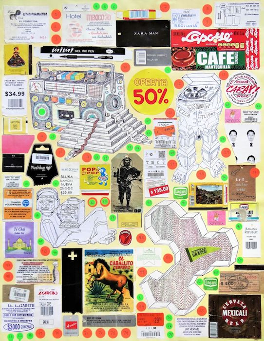 Cisco Jimenez, Mexico 70, Collage with drawing, 25.5x19.75inches, 2014-16_preview