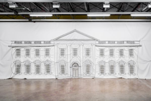 Rodney McMillian, The White House Painting, 2018. Vinyl and thread. 13 feet x 42 feet 4 inches. Commissioned by The Contemporary Austin, with funds provided by the Suzanne Deal Booth Art Prize. Installation view, Rodney McMillian: Against a Civic Death, The Contemporary Austin – Jones Center. Photography by Colin Doyle.