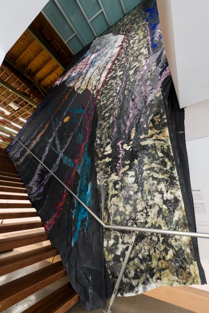Rodney McMillian, 44.8617° N, 93.5606° W: coordinates to an ascension (detail), 2018. Latex, acrylic, ink, and paper on duck cloth. 41 feet 6 inches x 36 feet 5 inches.