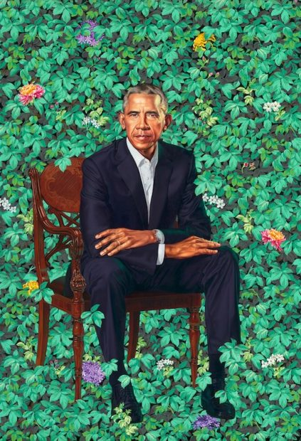 Kehinde Wiley's official portrait of Barack Obama