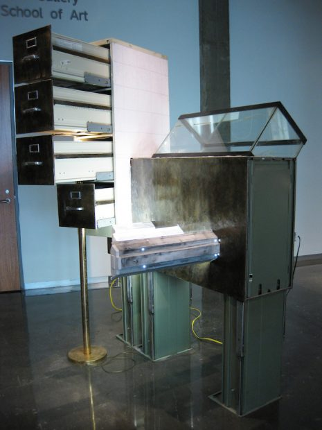 Filing Cabinets, Fish Tank, Fluorescent Fixtures, Fluorescent Bulbs, Lamp, Light bulb, Linoleum Flooring, Electrical Receptacles, Electrical Wiring, Paint, Sawdust, Wood Glue, 2010, 9' x 6' x 6'.