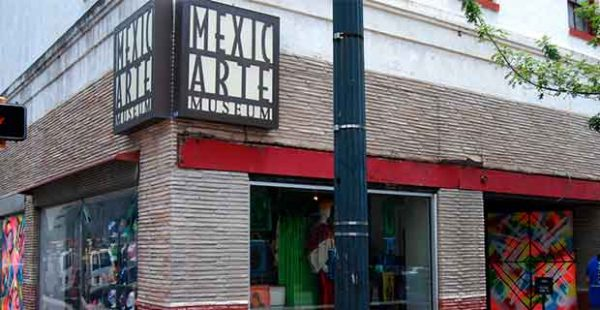 Facade of the Mexic Arte Museum in downtown Austin