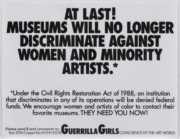 Guerrilla Girls discrimination poster