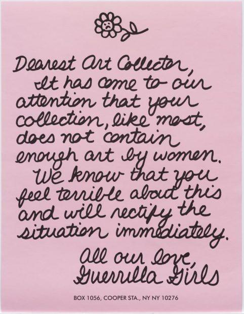 Guerrilla Girls letter to an art collector