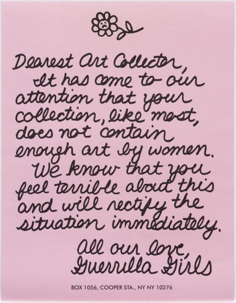 Guerrilla Girls letter to an art collector