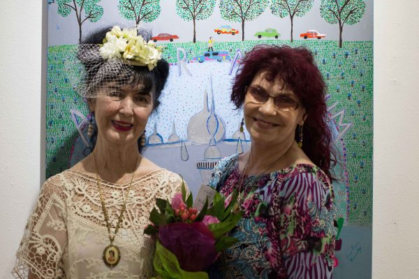 Image-from-the-opening-of-Anne-Reese-Hernandez's-show-at-Gspot-Gallery-in-Houston-Anne-Reese-Hernandez-and-Susan-Venus