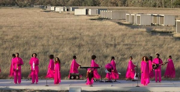 Solange Knowles performing at the Chinati Foundation in Marfa, Texas