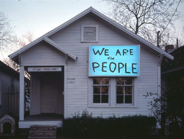 "Sam Durant's installation, ""We Are the People,"" on view at Project Row Houses in 2003. Photo by Rick Lowe, courtesy Project Row Houses."