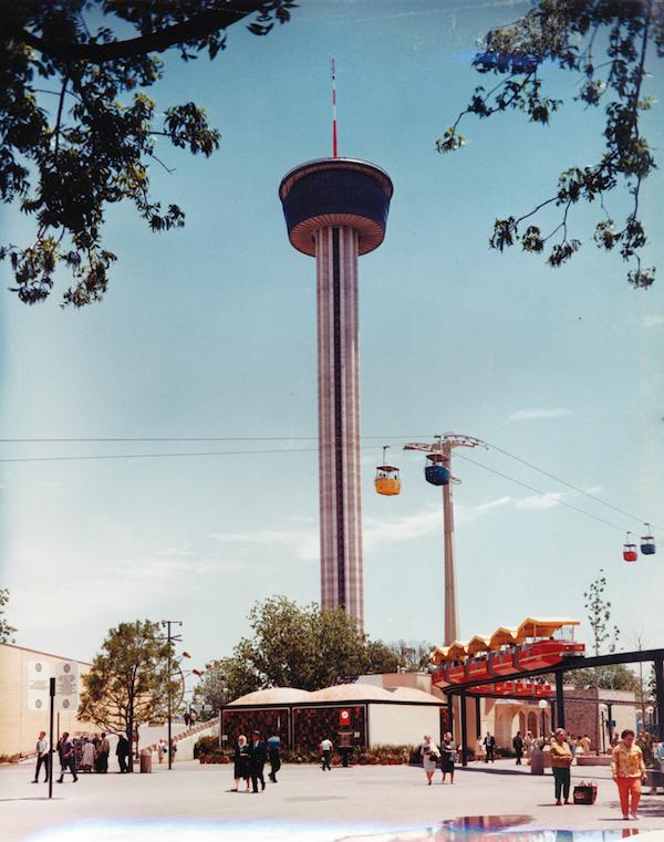 HemisFair tower and monorail. Courtesy UTSA archives.