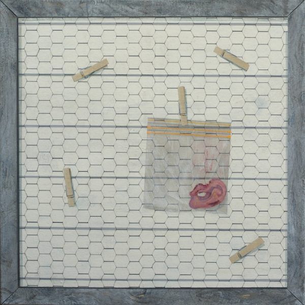 Gabe Langholtz, Forget Me Not, 2018, acrylic and charcoal pencil on canvas, 24 x 24 inches, courtesy of the artist.