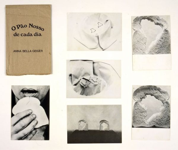 Anna Bella Geiger O pão nosso de cada dia [Our Daily Bread], 1978 Brown paper bag containing series of six black and white postcards 16 15/16 x 5 1/2 in. Blanton Museum of Art, The University of Texas at Austin, Gift of Shifra M. Goldman, 1999