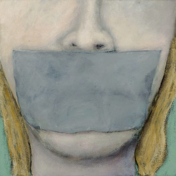 Gabe Langholtz, Lips Are Sealed, 2017, acrylic and charcoal pencil on canvas, 12 x 12 inches, courtesy of the artist.