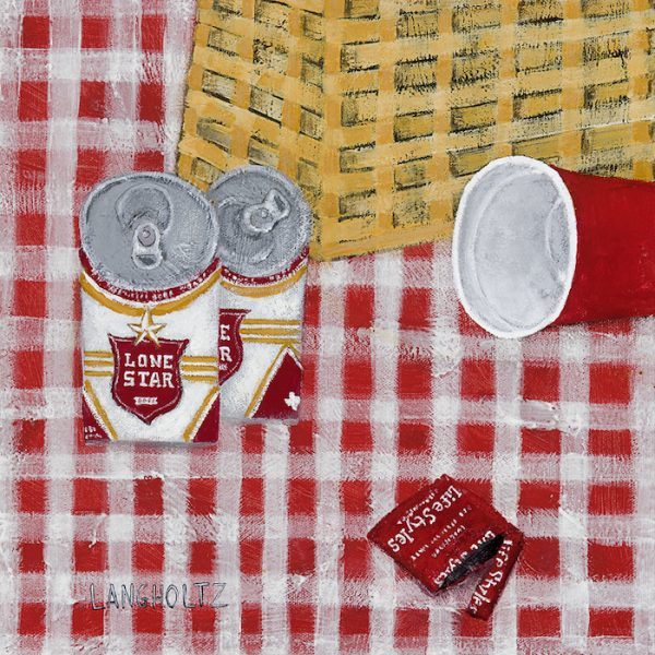 Gabe Langholtz, Lone Star Picnic, 2015, mixed media on canvas, 12 x 12 inches, courtesy of the artist.