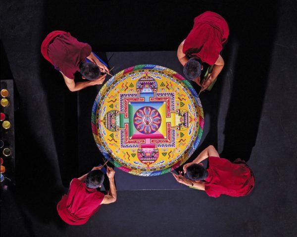 Sand Mandala painting at the Asia Society
