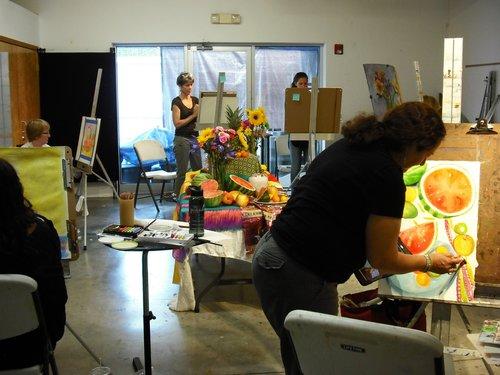 an art class at Art League Houston
