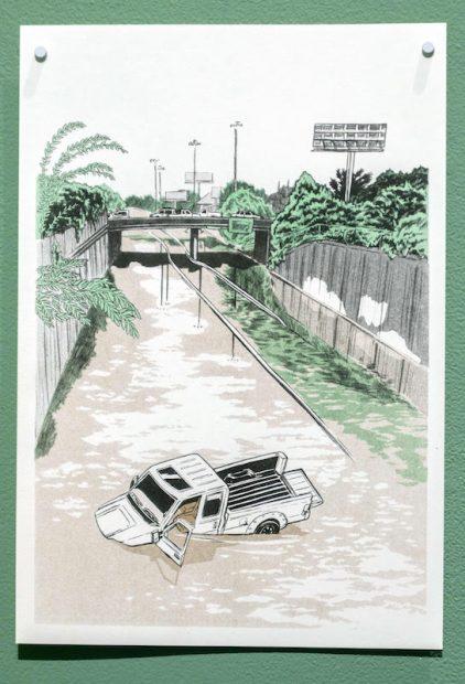 "Untitled (Sinking Truck), 11x17"" risograph print, 2017"