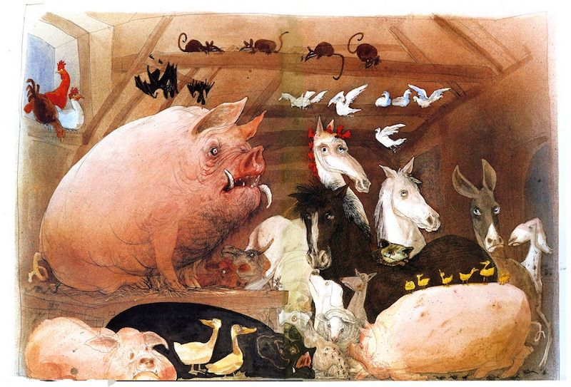 Illustration by Ralph Steadman of George Orwell's Animal Farm