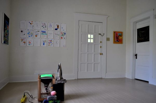 Installation view of From Falsehoods Glitter