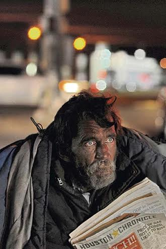 Barry Lives at Monroe and I-45. DeSoto's 2008 image of a homeless Houston man who eked out a living selling the Chronicle.