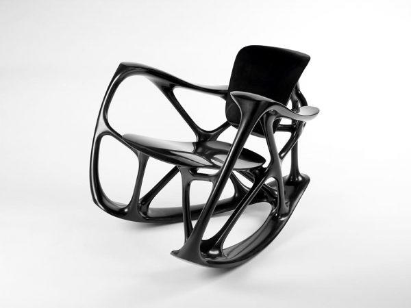 Joris Laarman, produced by Joris Laarman Lab, Bone Rocker, from the collection Bone Furniture, 2008, black marble and resin, the Museum of Fine Arts, Houston