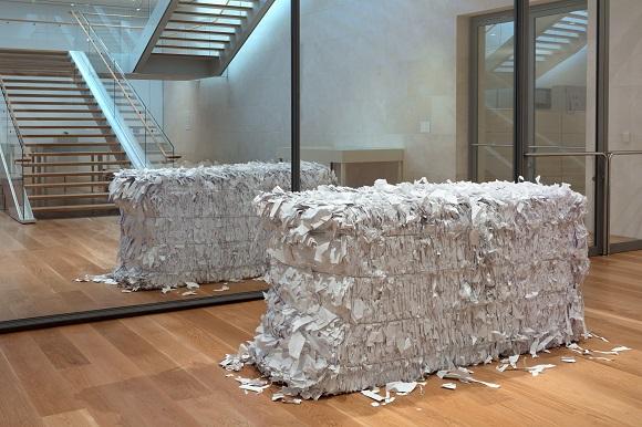 Joshua Neustein Paper Bales Nasher Sculpture Center
