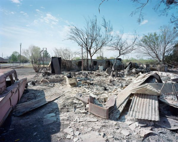 Luther Smith, Wildfire, Burnt Homes, Car, Montague County, Texas, April 2009