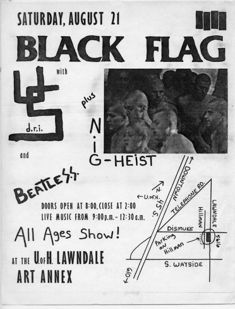 Poster for Black Flag concert at Lawndale Annex, 1982. Courtesy Lawndale Art Center Archives