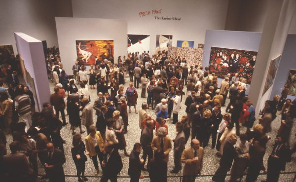 Opening reception for 'Fresh Paint,' January 1985, Museum of Fine Arts, Houston. Photo by Ben DeSoto
