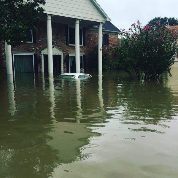 A Harvey flood photo taken by Paul Middendorf, car underwater