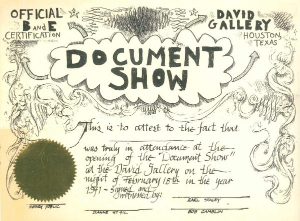 David Gallery Commemorative Document for The Document Show
