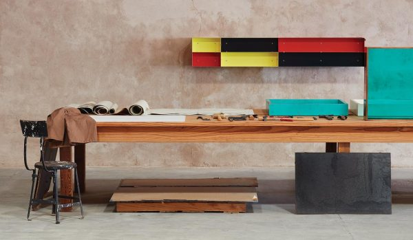 Donald Judd Colorful Wall Sculpture in his art Studio Marfa Texas