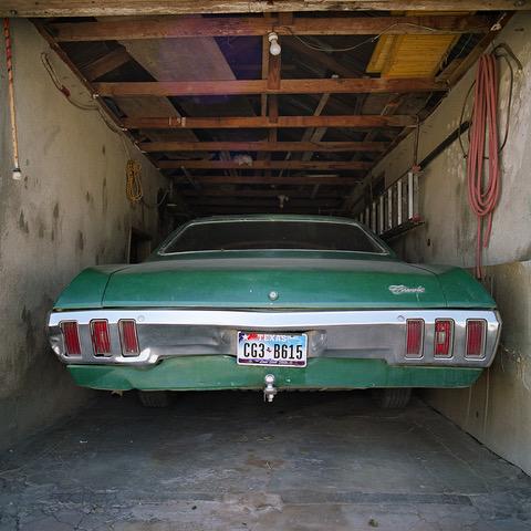 Green Chevy in Garage