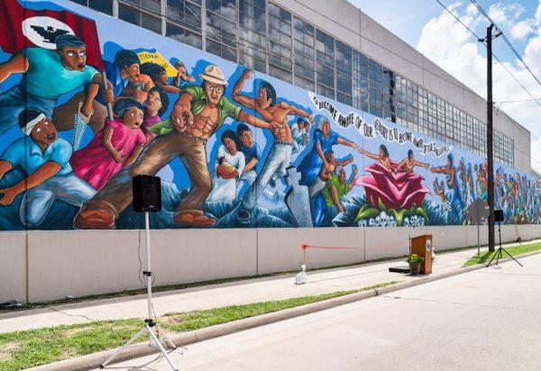 Rebirth of Our Nationality Mural Leo Tanguma Houston