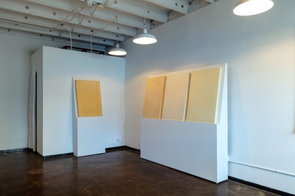 Installation shot of Thomas Feulmer's Yellow Tablets at the Reading Room.