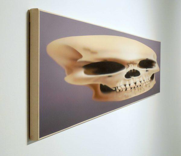 Texas artist Rachel Hecker Skull Painting at Art League Houston