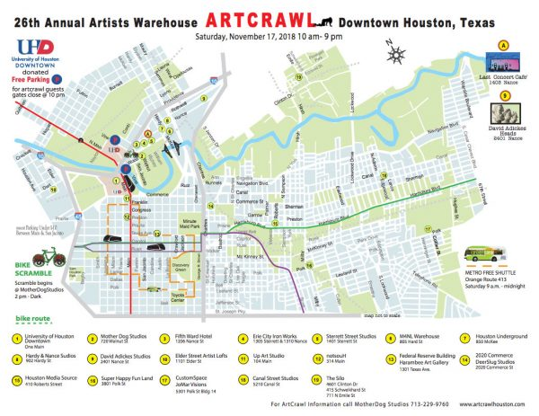 2018 Houston Texas Art Crawl Map