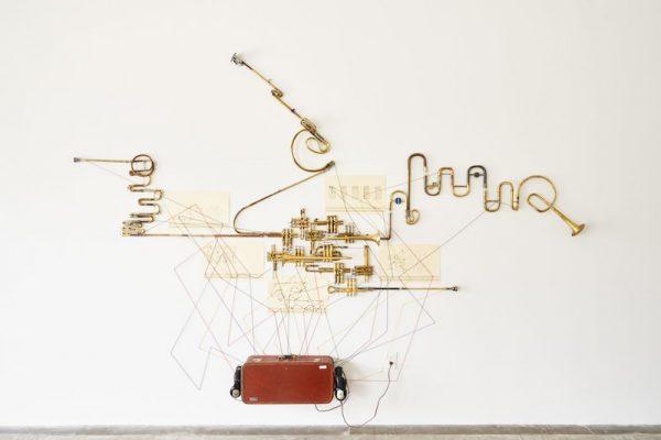 Installation shot from Steve Parker's WAR TUBA RECITAL at Big Medium in Austin.