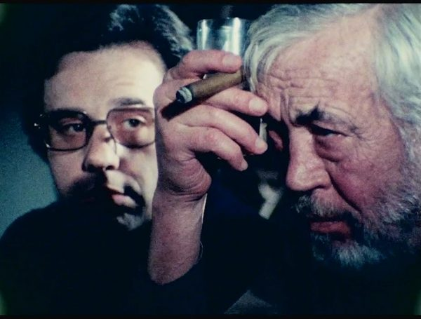 Peter Bogdanovich and John Huston in a film still from The Other Side of the Wind