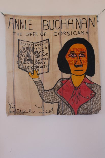 Annie Buchanan, the Seer of Corsicana, India ink and Higgins ink on Rainbo Seeds sack