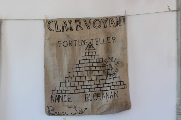 Clairvoyant, India ink on Bemis seamless sack