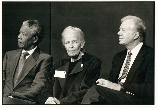 Nelson Mandela, Dominique de Menil, Jimmy Carter at the Rothko Chapel, 1991, on the occasion of Nelson Mandela receiving the Carter-Menil Human Rights Award