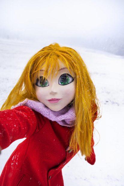 Yellow Hair/Red Coat/Snow/Selfi, 2014.