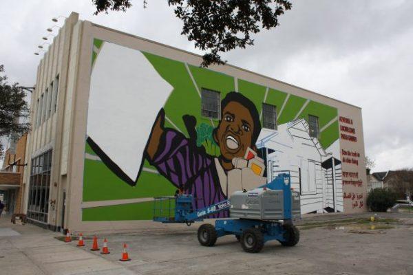 Art collective Otabenga Jones & Associates mural on Lawndale Art Center in Houston Texas