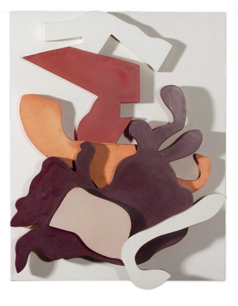 Artist Jean Arp painted wooden wall relief sculpture at the Nasher Sculpture Center in Dallas