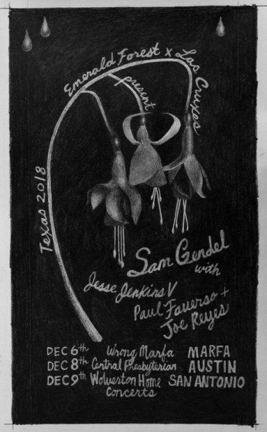 Ashley Thomas poster design for Neil Fauerso Curated Concert in Marfa, Austin, San Antonio